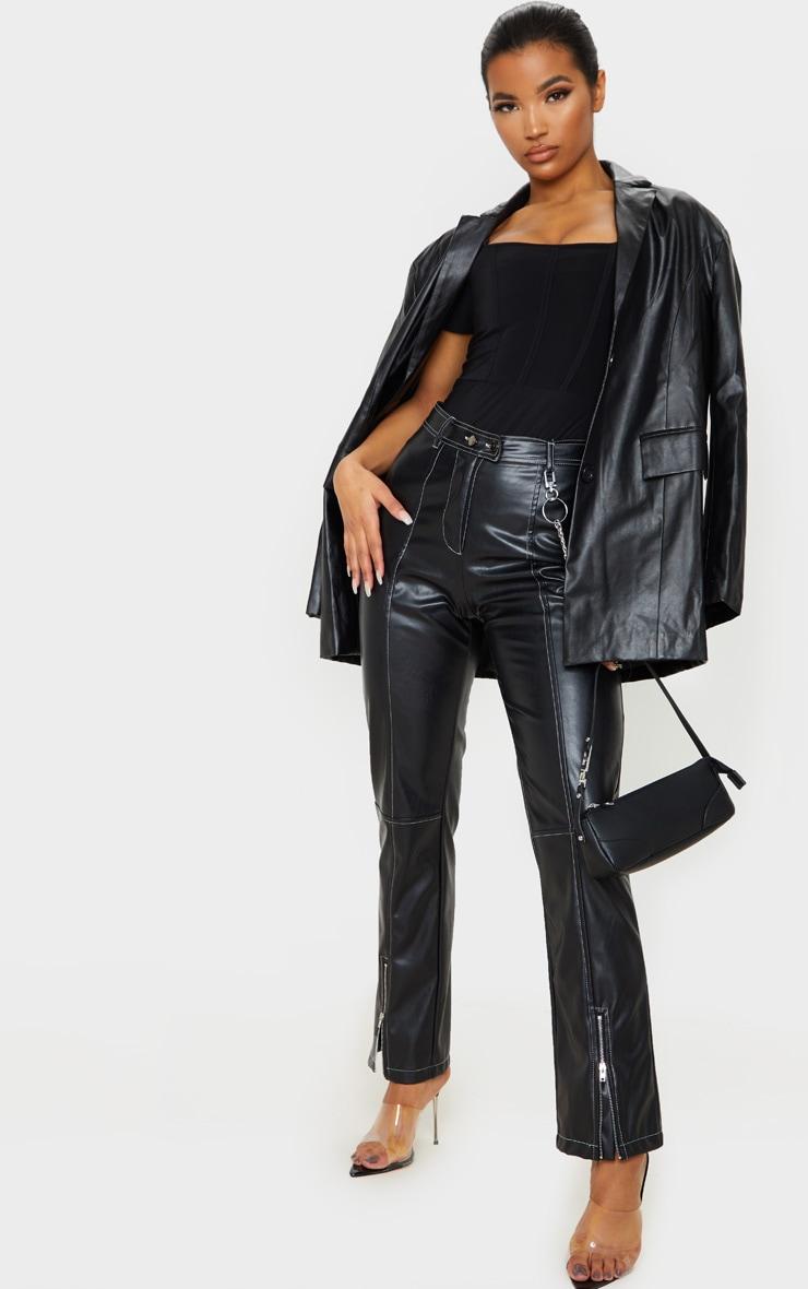 Black Slinky Boned Short Sleeve Bodysuit 5
