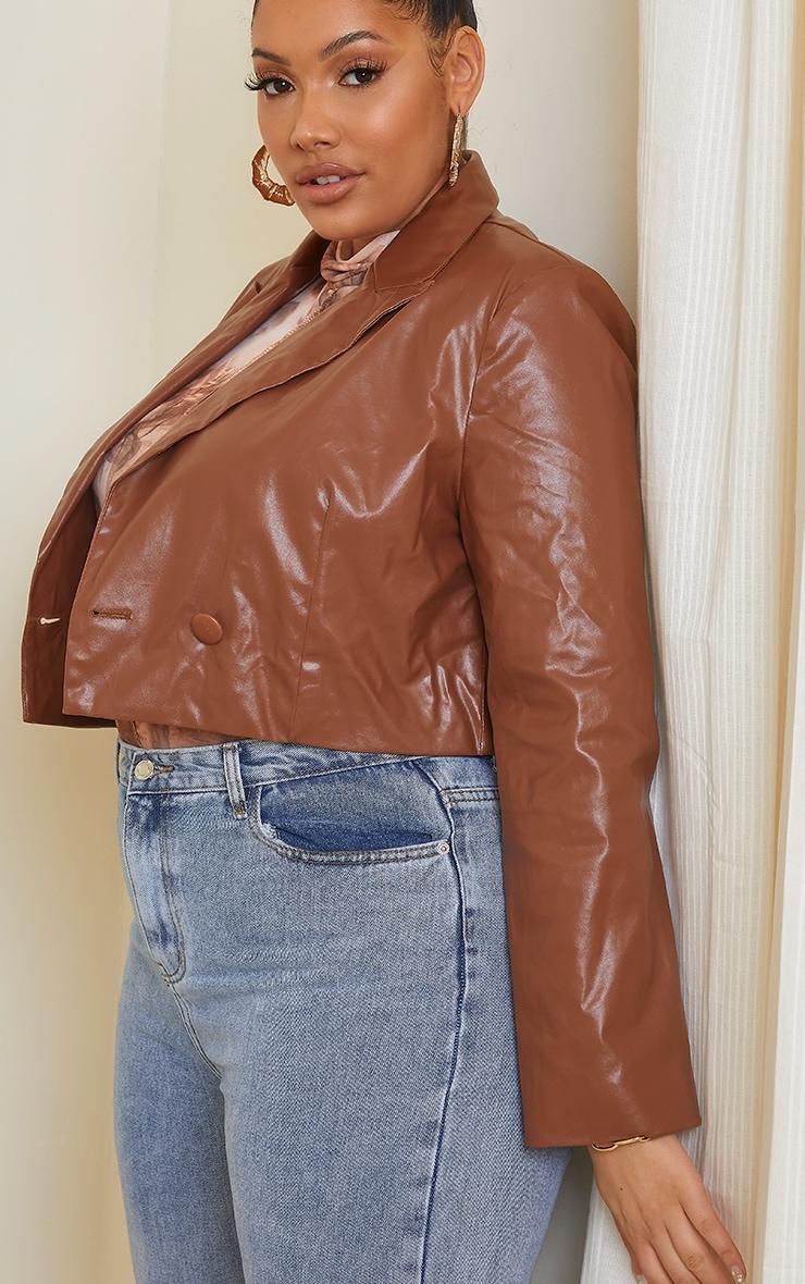 Plus Tan PU Cropped Blazer 4