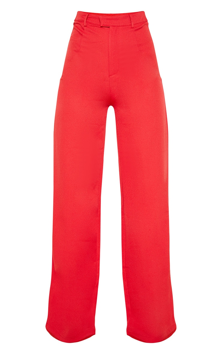 Red Wide Leg Crepe Pants 3