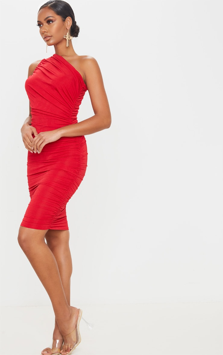Red Slinky Ruched One Shoulder Midi Dress 3