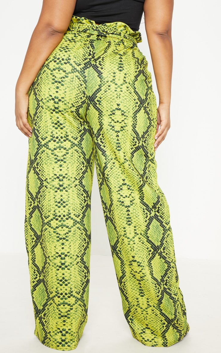 Plus Neon Yellow Snake Print Paperbag Tie Waist Wide Leg Pants  4
