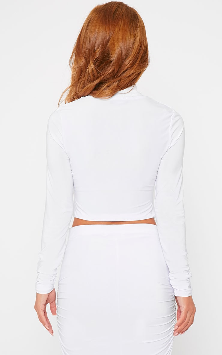 Saylor White Turtle Neck Crop Top 2