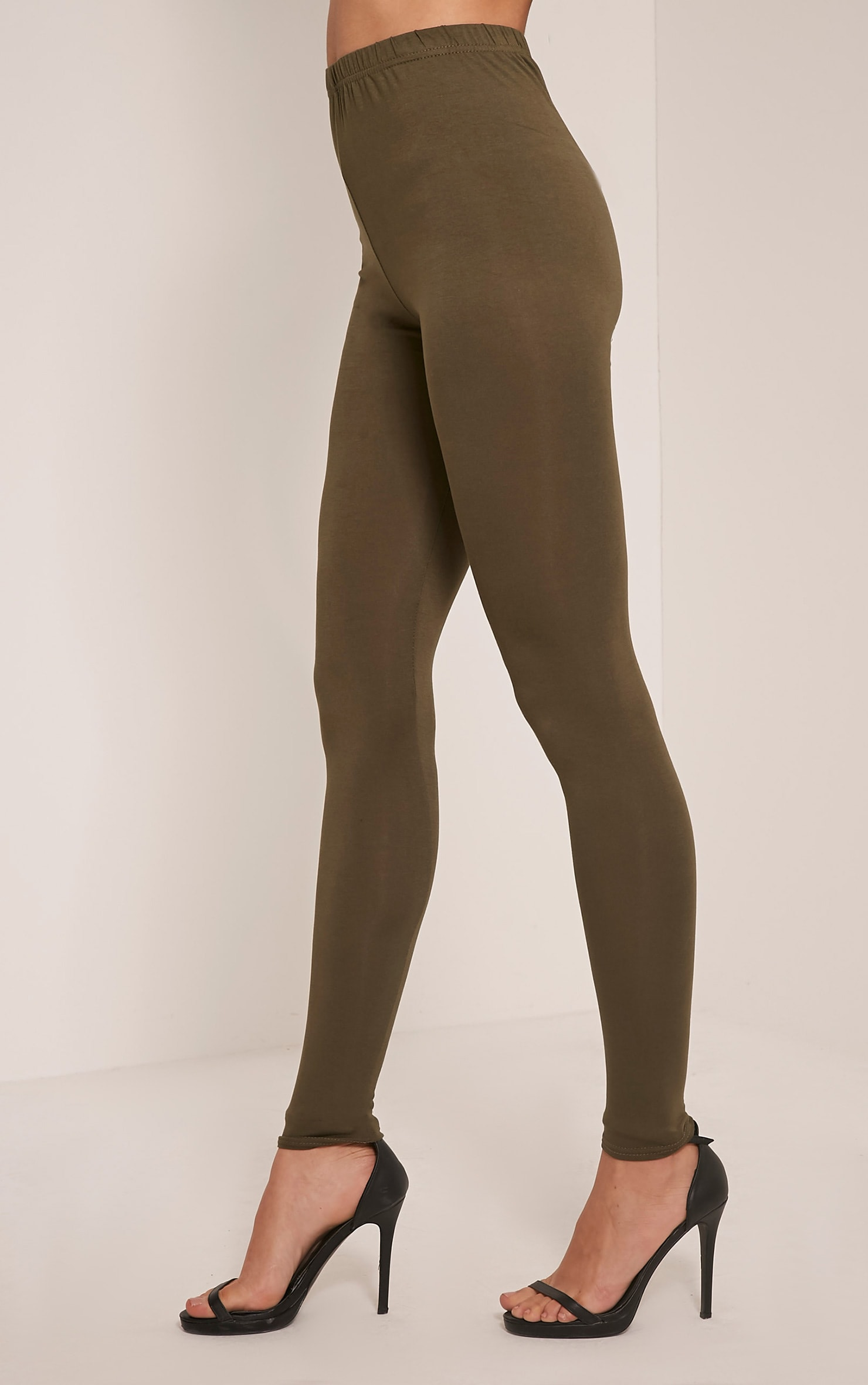 Basic Khaki Jersey Leggings 4
