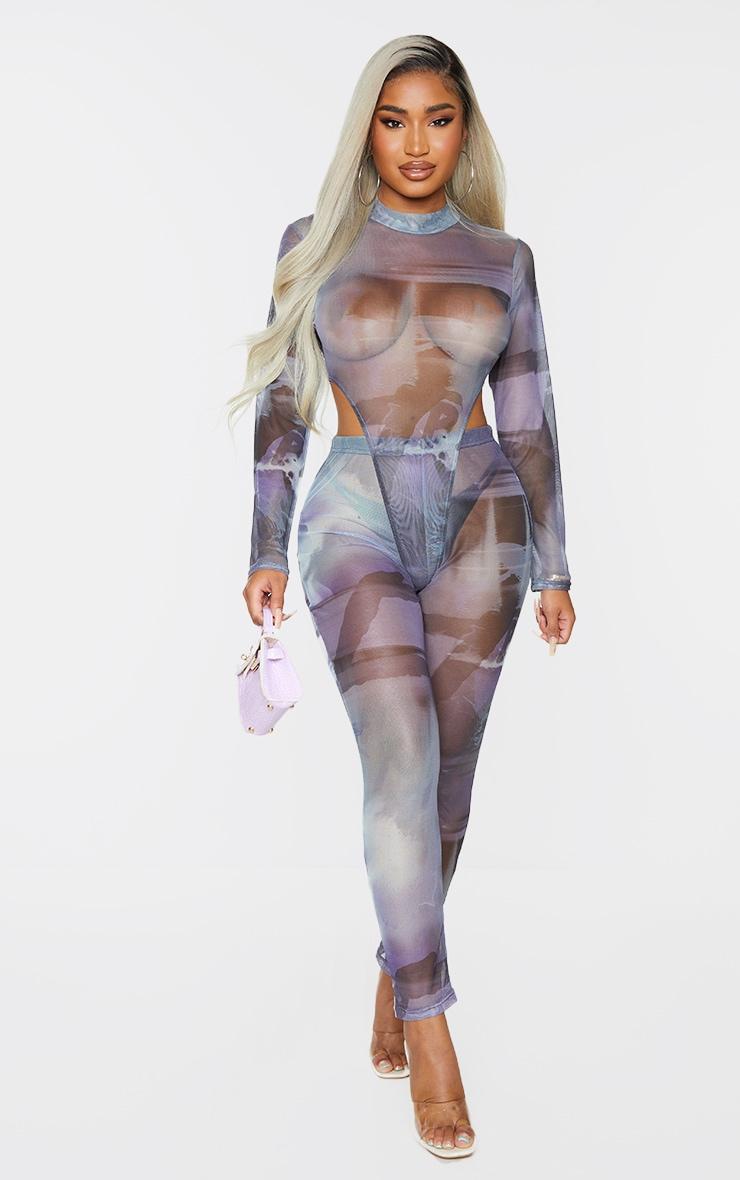 Shape Blue Smoke Print Sheer Mesh High Leg Bodysuit 1