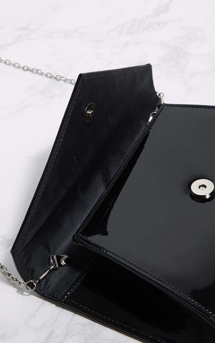 Black Patent Chain Cross Body Bag 4