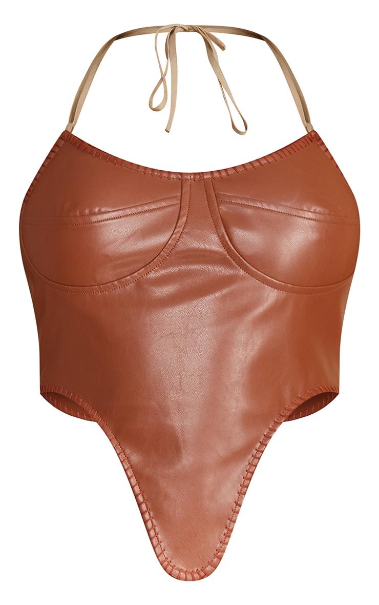 Brown Faux Leather Dip Hem Halterneck Corset 5