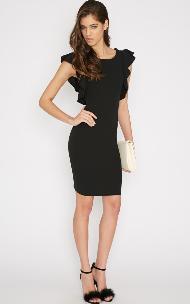 Hazel Black Frill Back Mini Dress 4