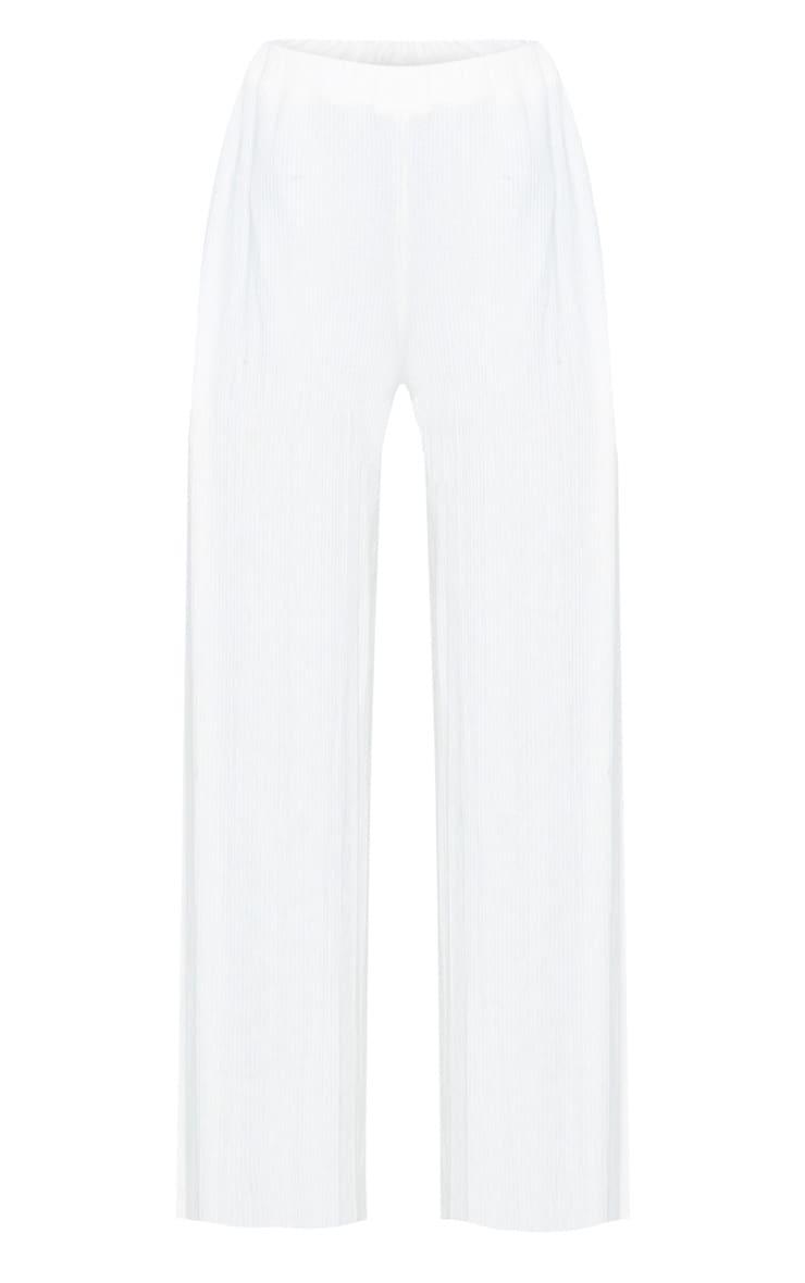 Cream Brushed Rib Wide Leg Pants 3