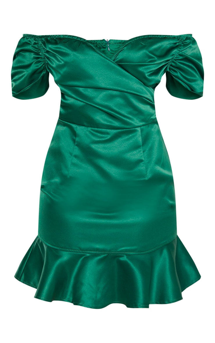 Emerald Green Bonded Satin Bardot Wrap Front Bodycon Dress 3
