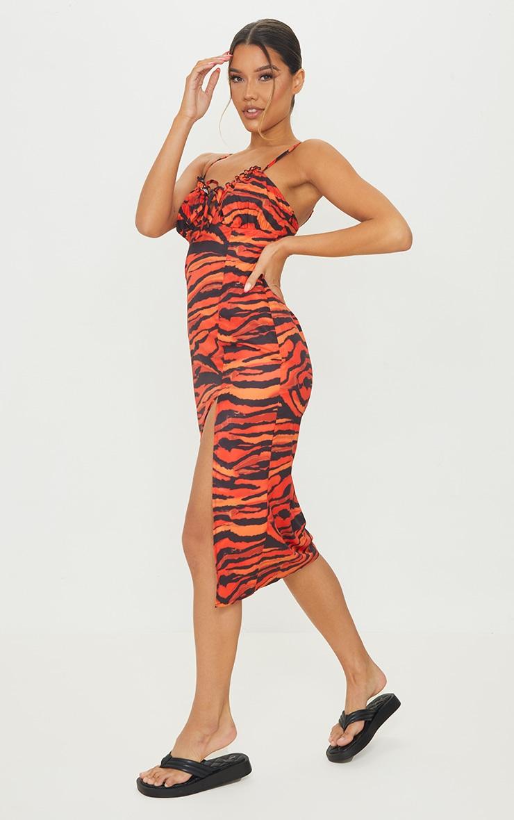 Orange Zebra Print Strapy Split Detail Midi Dress 3