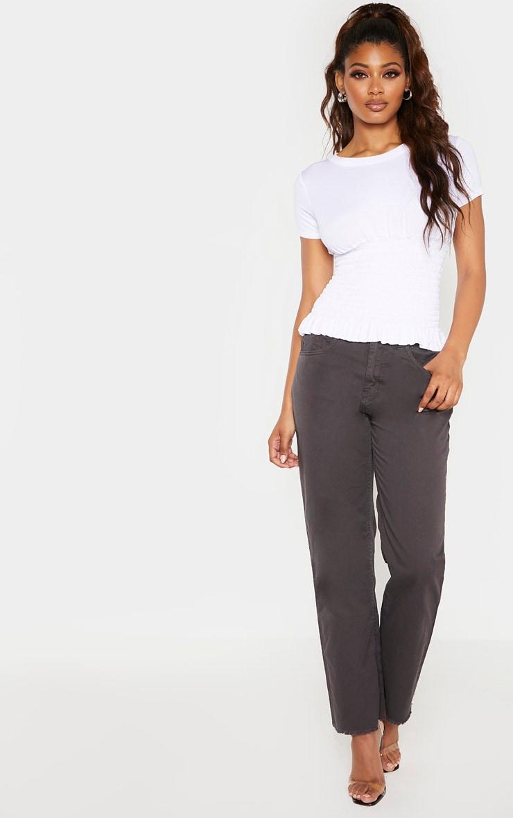 Tall White Ruched Waist T Shirt 4