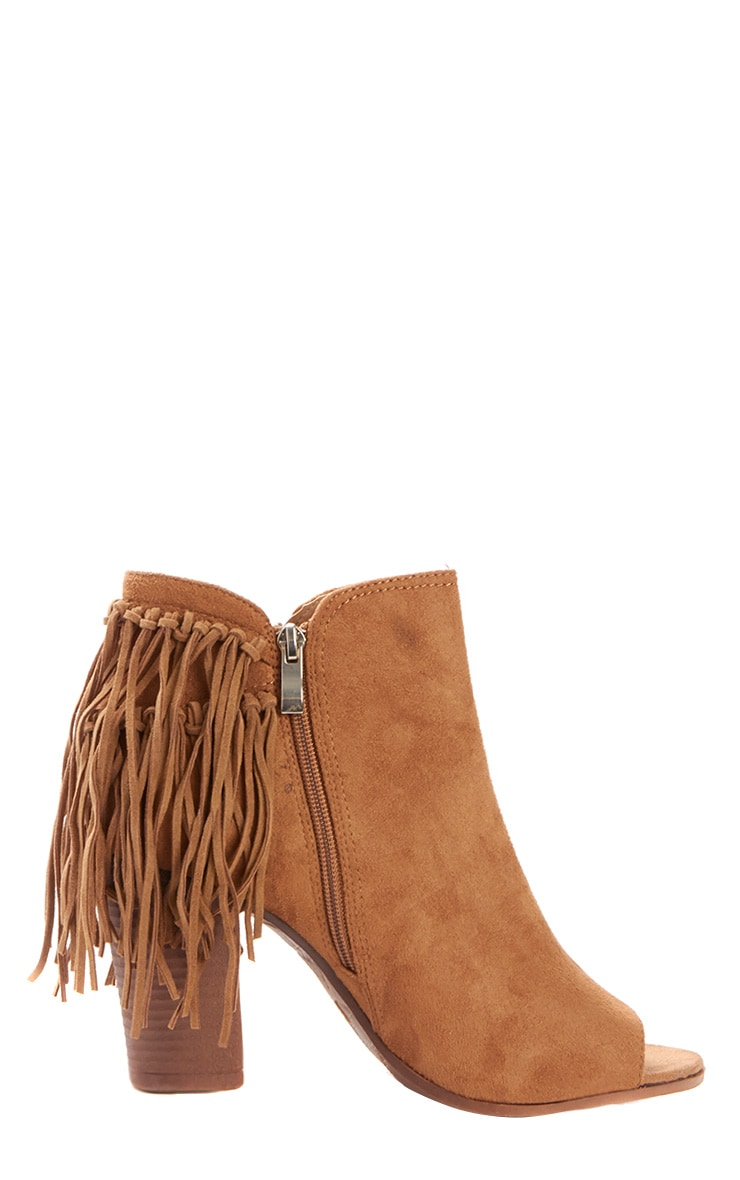 Cameron Camel Suede Fringe Heeled Boots 3