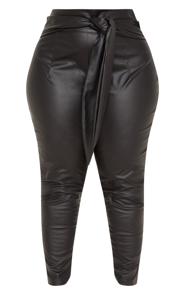 Plus Black Faux Leather Belt Detail Pants 3