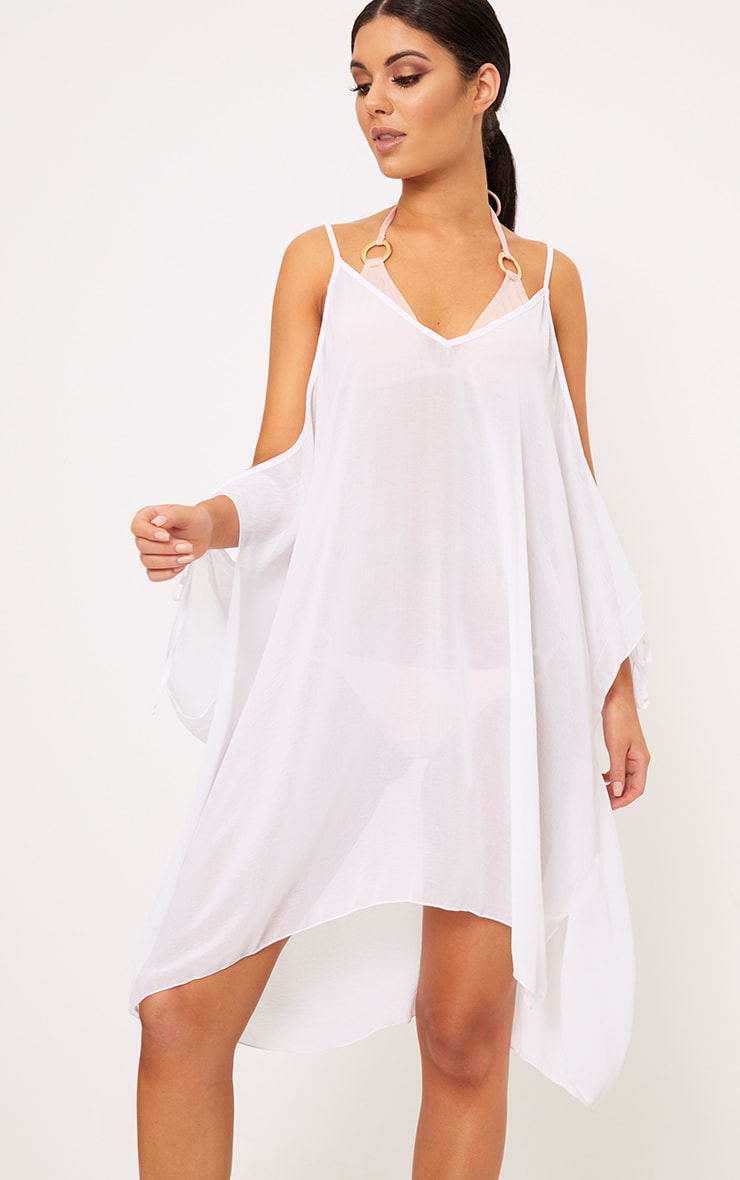 ae526fd8167 Roslyn White Chiffon Beach Cover Up Dress | Dresses ...