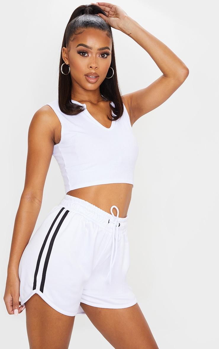 White Stripe Nylon Side Stripe Drawstring Shorts 4