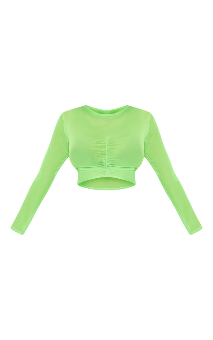 Lime Ruched Front Mesh Long Sleeve Crop Top 3