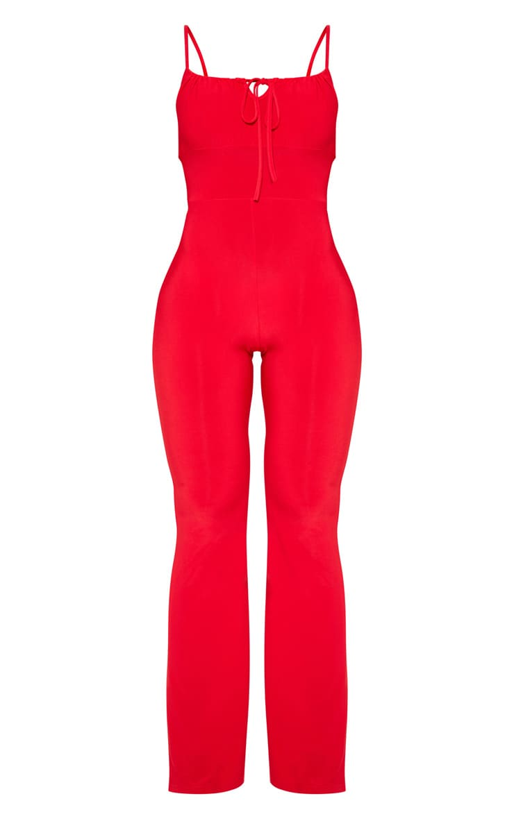 Red Strappy Ruched Detail Wide Leg Jumpsuit 3