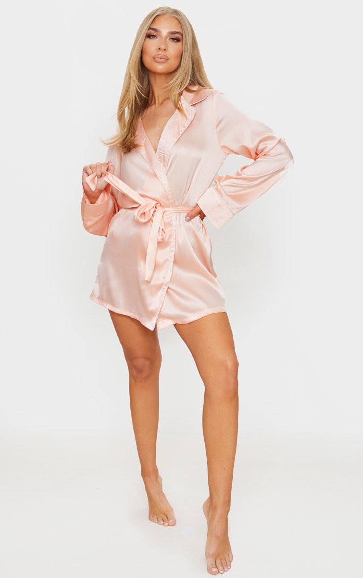 Baby Pink Satin Piped Robe 3