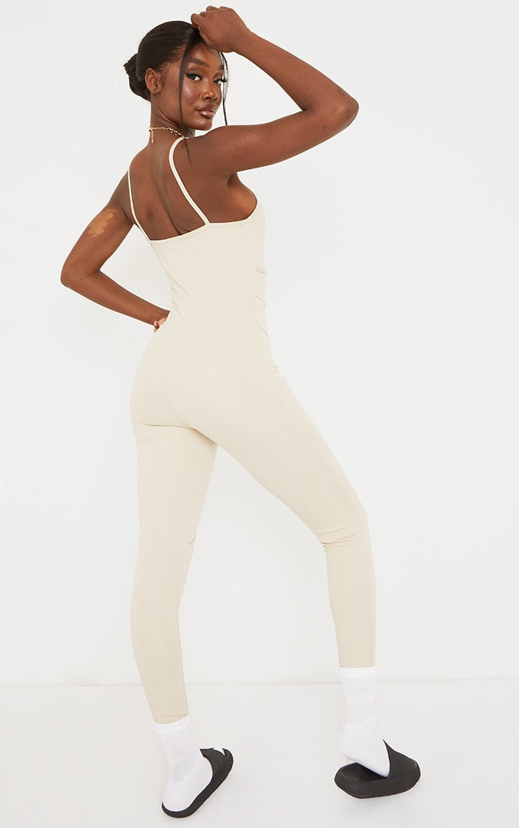 PRETTYLITTLETHING Tall Stone Strappy Contrast Seam Detail Jumpsuit 2