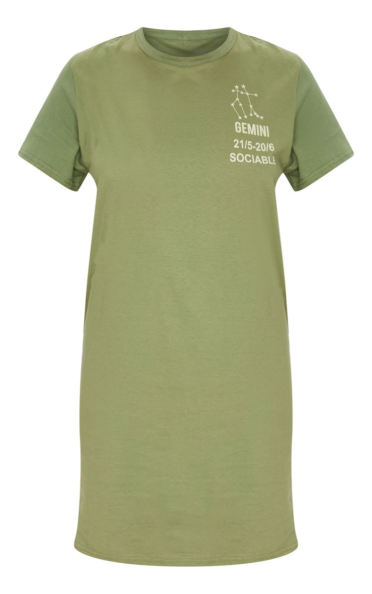 Khaki Gemini Definition Slogan T Shirt Dress  3