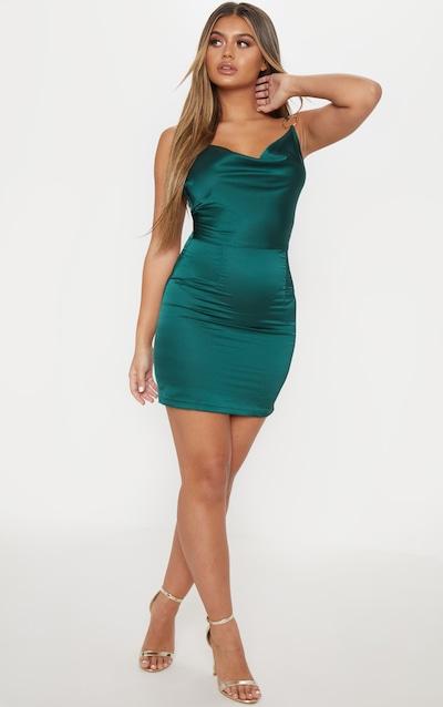 8e28e6e4c6 Emerald Green Satin Cowl Neck Ring Detail Bodycon Dress