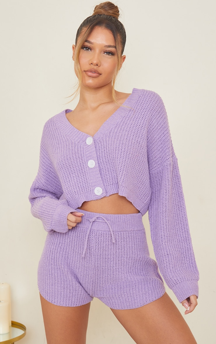 Lilac Button Up Ribbed Knitted Short Lounge Set 1