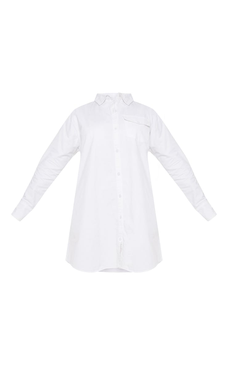 Plus White Pocket Detail Oversized Shirt Dress 3