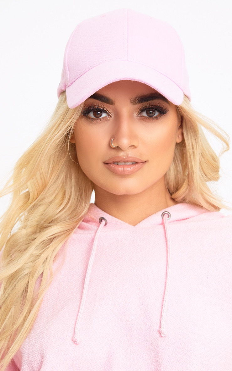 Pink Woven Baseball Cap 1