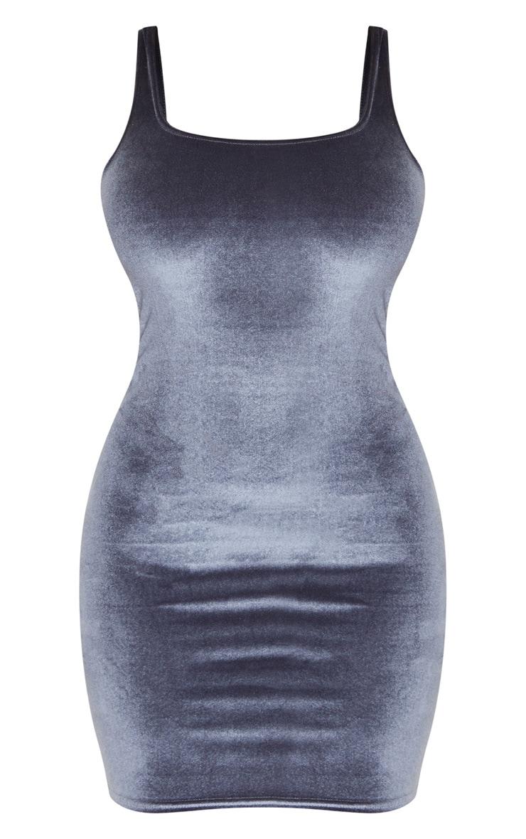 Grey Velvet Sleeveless Square Neck Bodycon Dress 3