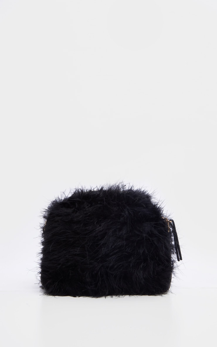Black Marabou Cross Body Bag 2