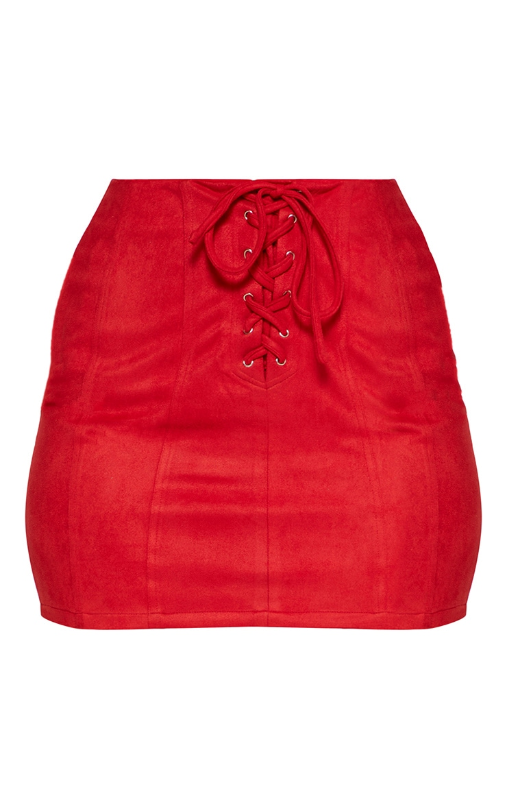Red Faux Suede Seam Detail Lace Up Mini Skirt 3