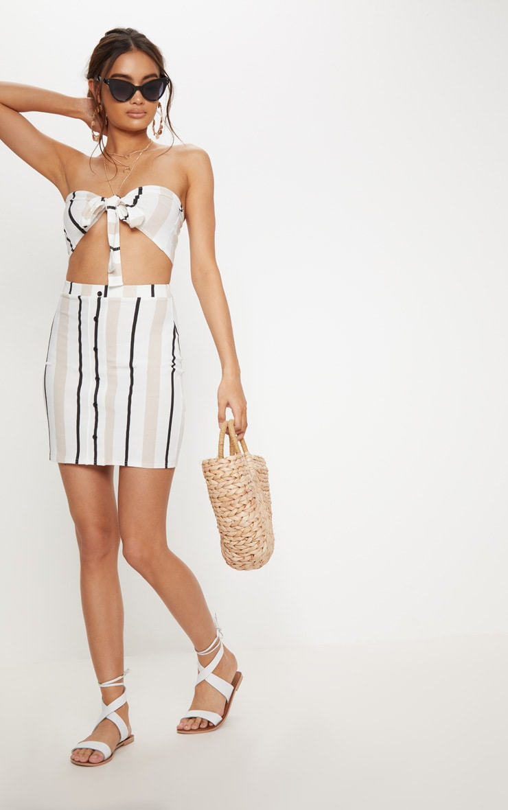 White Stripe Crepe Tie Front Crop Top