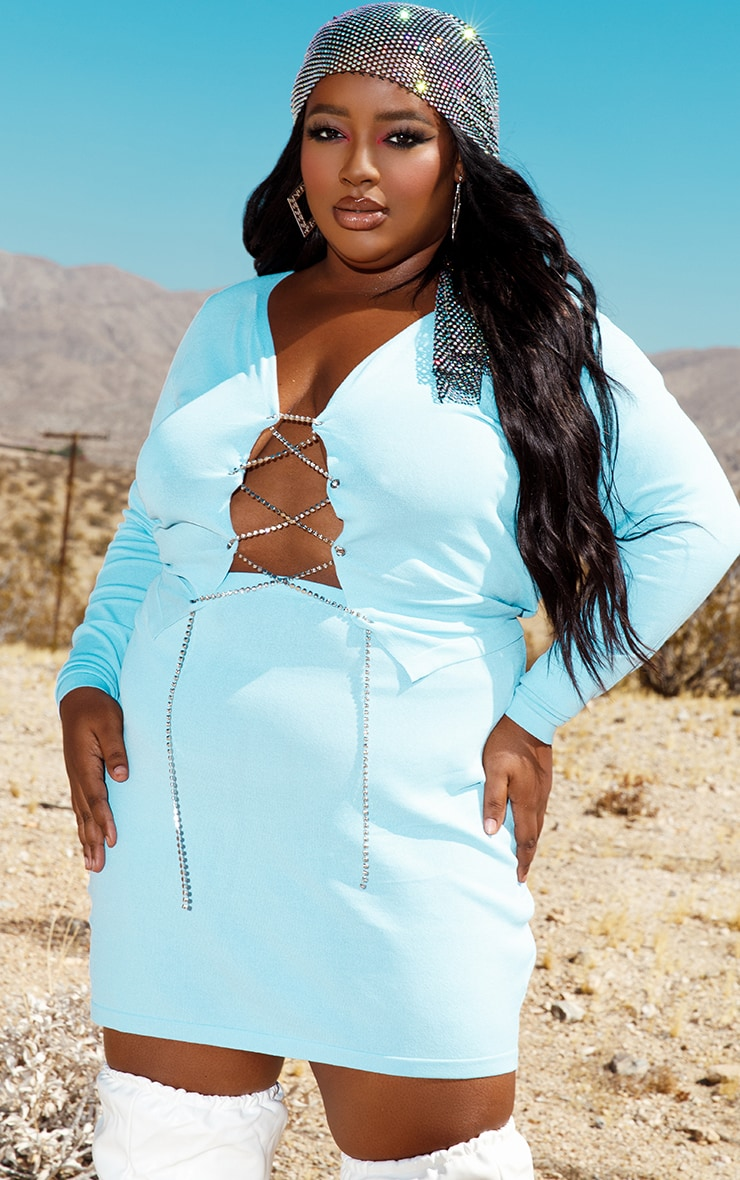 Plus Baby Blue Diamante Lace Up Knitted Top 1
