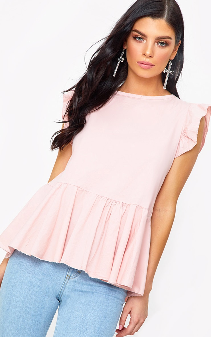 Pink Frill Shoulder Tie Back Shirt 1
