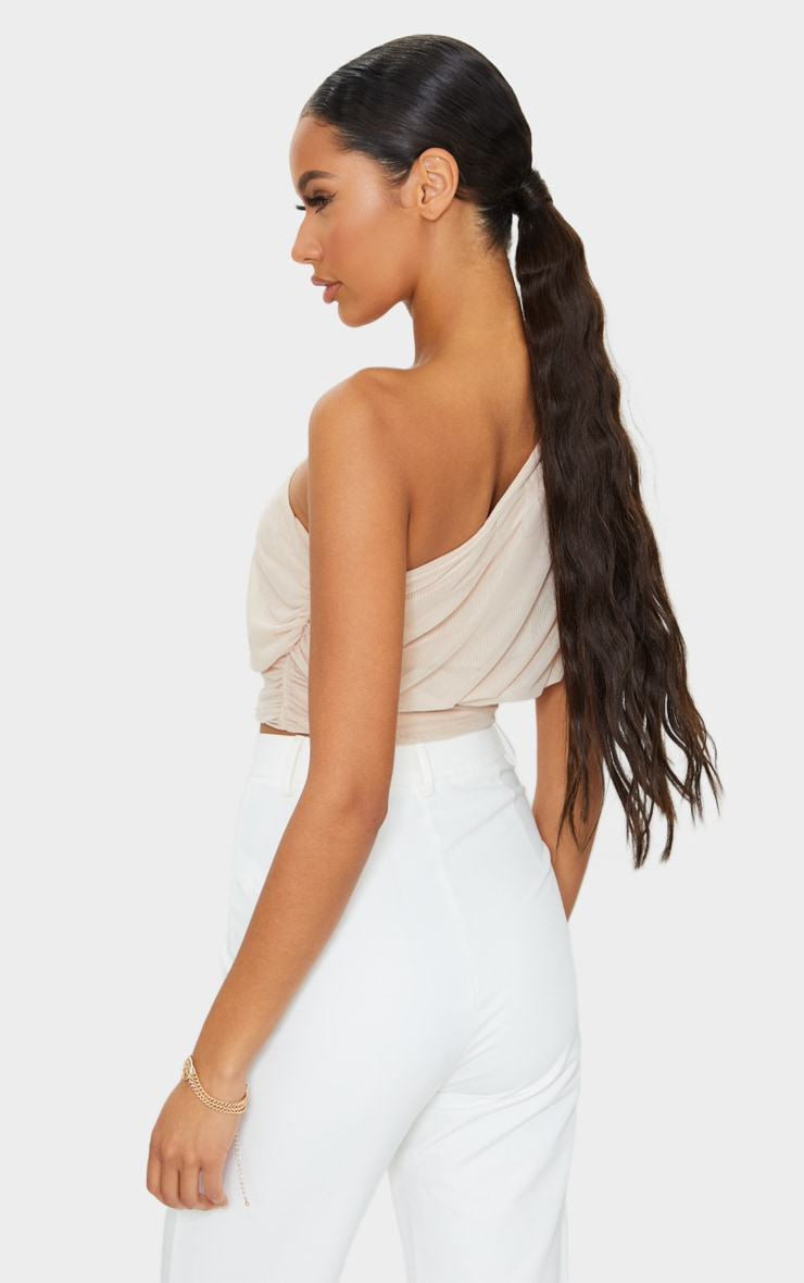 Nude Mesh Ruched One Shoulder Crop Top 2