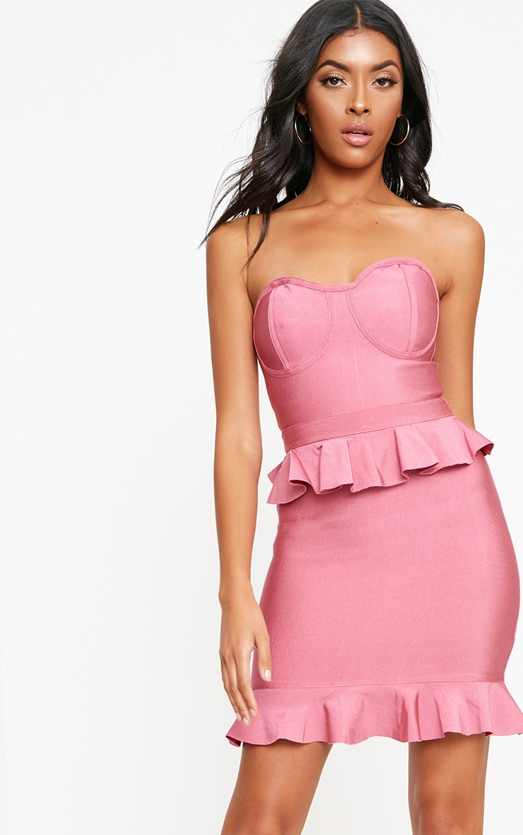 Rose Bandeau Bandage Frill Detail Bodycon Dress 1