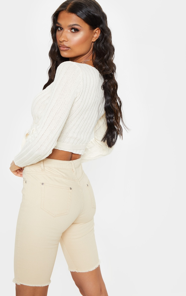Cream Ribbed Knit Wrap Front Top 2