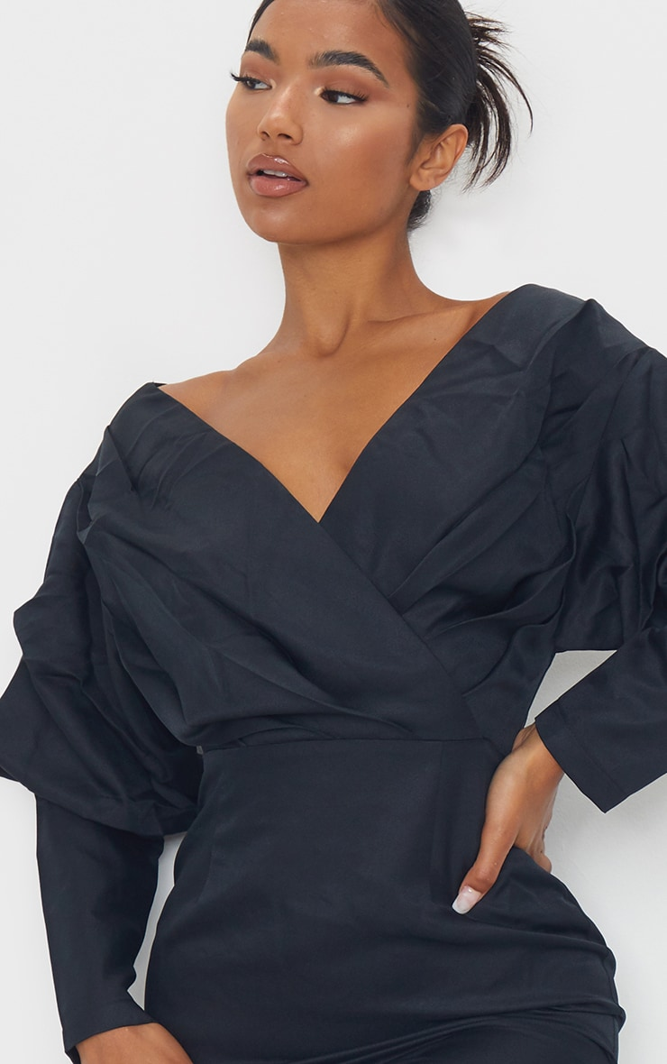 Black Off The Shoulder Ruched Bodycon Dress 4