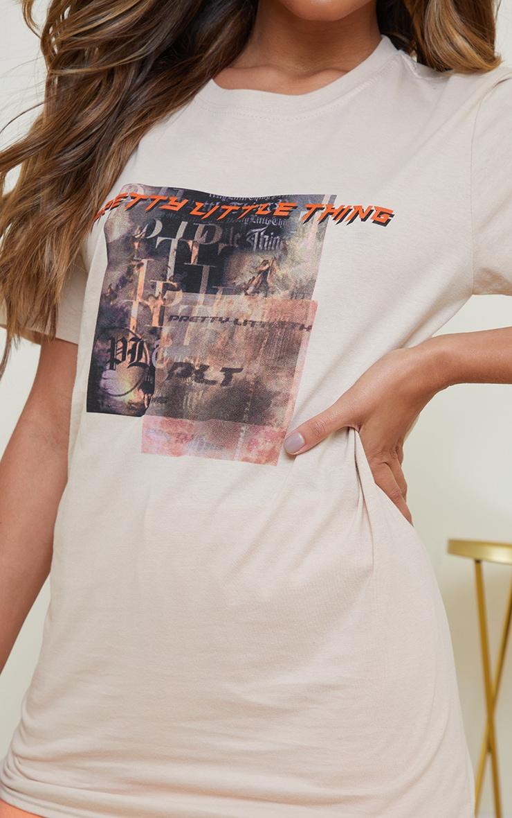 Prettylittlething Stone Burnout Print T Shirt 4