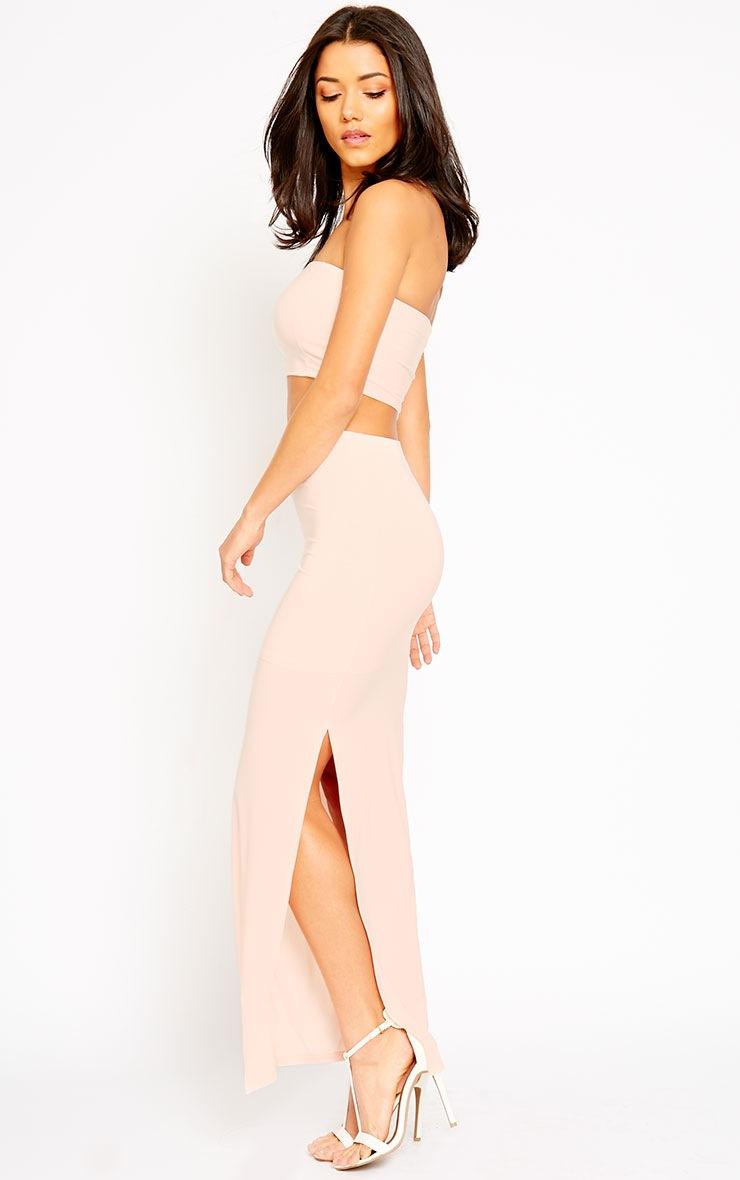 Helsa Nude Slinky Split Maxi Skirt 5
