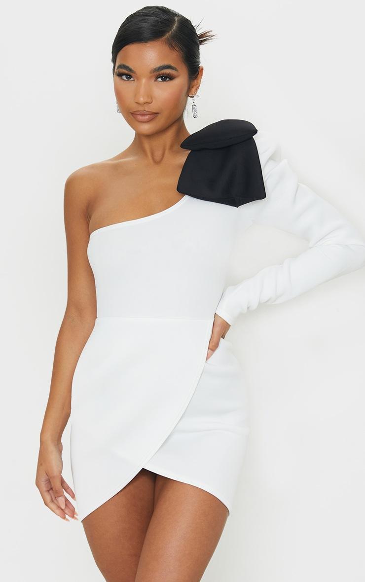 White Bow Detail One Shoulder Scuba Bodycon Dress 1