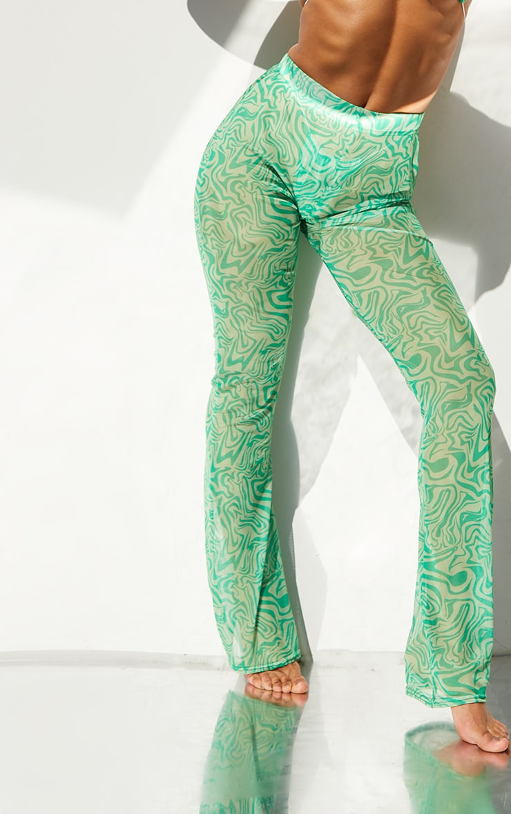 Green Swirl Print Mesh Beach Flares 4