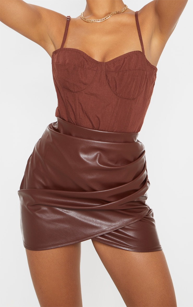 Chocolate Ruched Faux Leather Skirt 5
