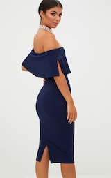 Navy Bardot Frill Midi Dress 2