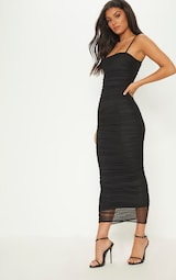 90885299400 Black Strappy Mesh Ruched Midaxi Dress image 4