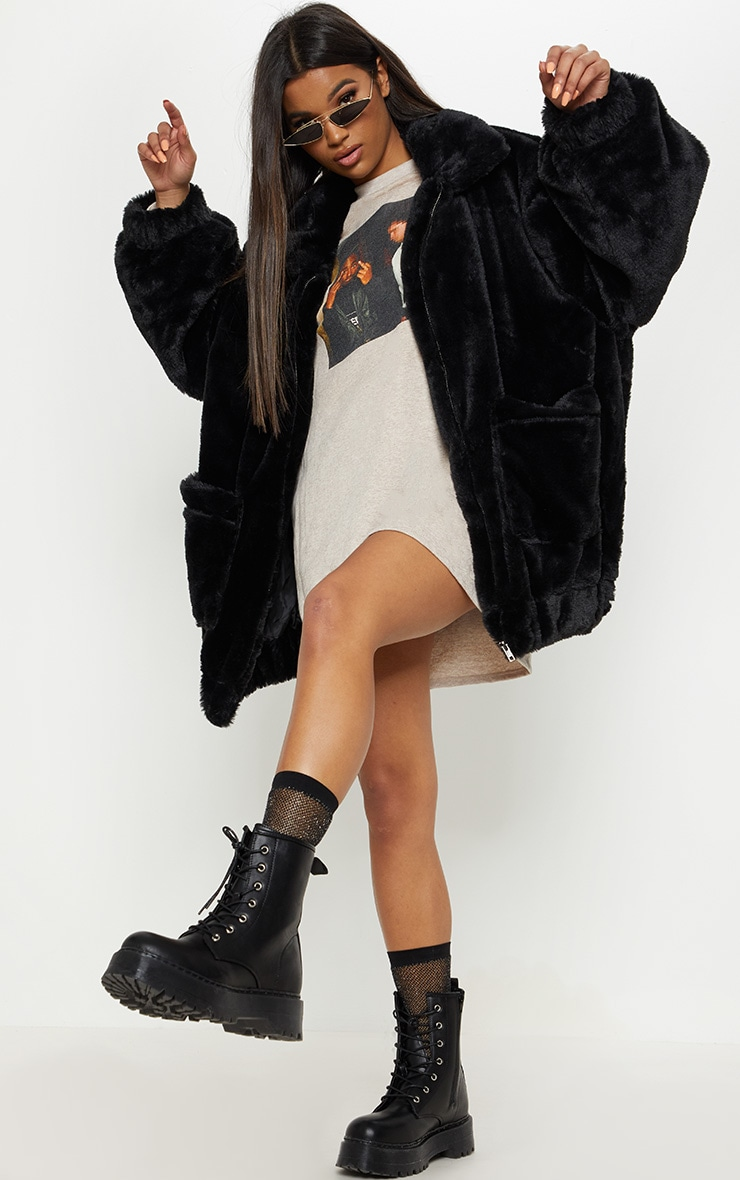 Black Pocket Front Faux Fur Coat 5
