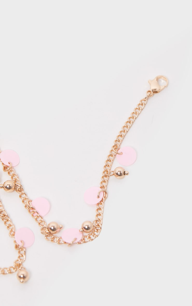 Gold And Pink Disc Anklet 3