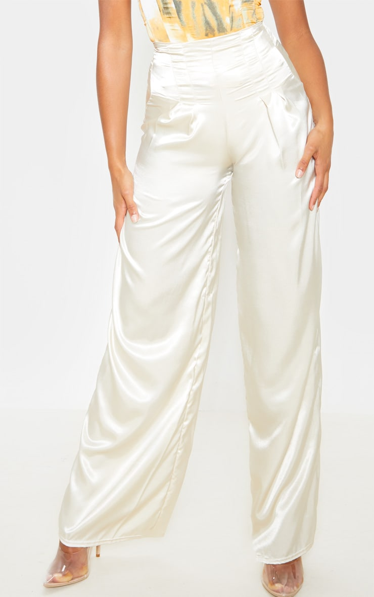Champagne Satin Pleat Detail Wide Leg Pants 2