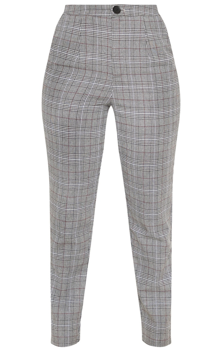 Grey Check Slim Leg Pants 3