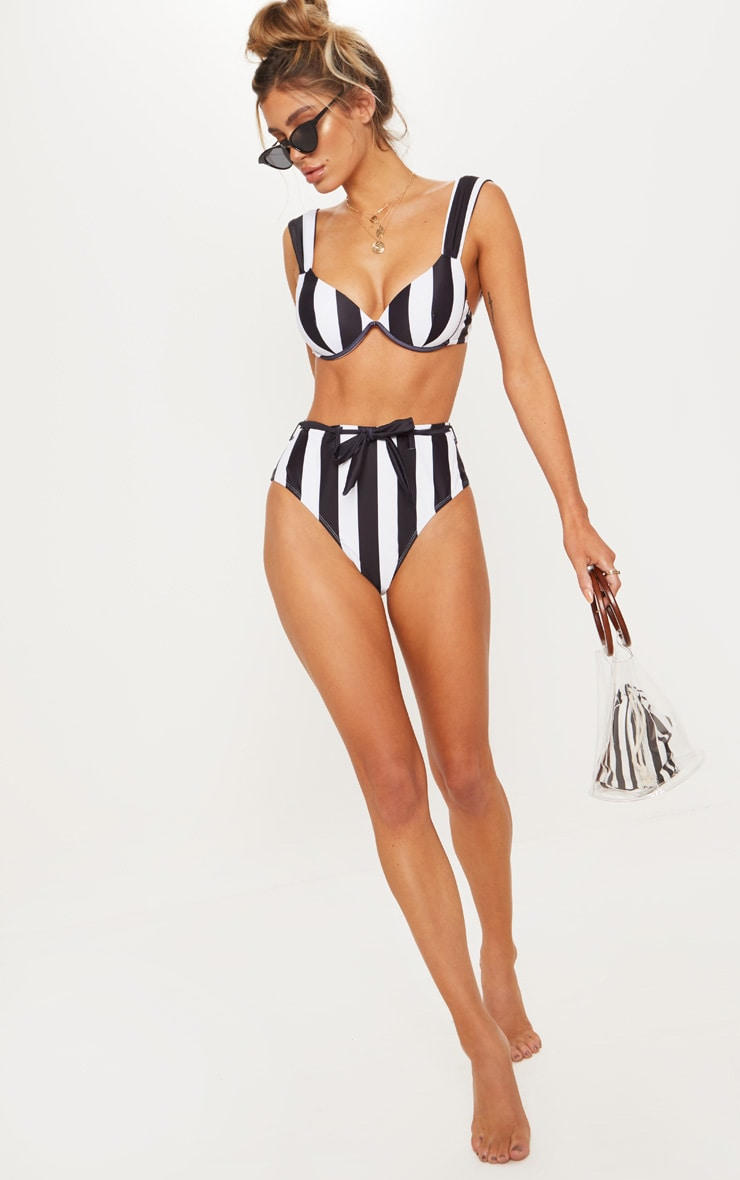 Black & White Stripe Belted Waist Bikini Bottom 1